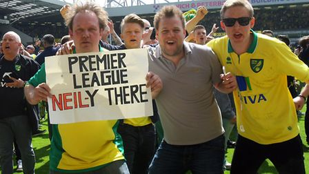 Jubilant scenes at the end of the Sky Bet Championship match at Carrow Road, Norwich on 16/05/2015.