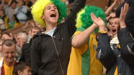Wig wearing fans cheer at NCFC v Ipswich Town match in November 200 7. Pictures:Sonya Brown .