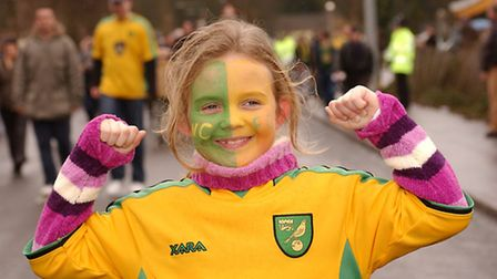 Katie Lambert, age 7, wears NCFC facepaint as she gears up for the Nationwide league division one ma