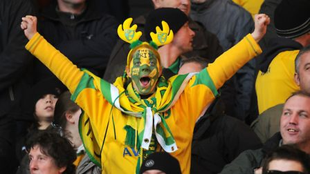We've never seen NCFC antlers before, but this guys wears them proudly at the NCFC v Ipswich game in
