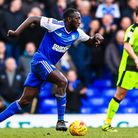 Toumani Diagouraga pushes forward for Ipswich Town during their recent draw with Reading. Picture