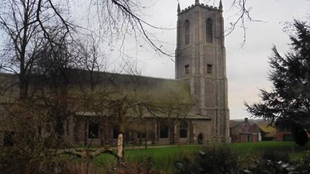 A piece of the tower fell off Fakenham Parish Church during Storm Doris - punching holes in the roof