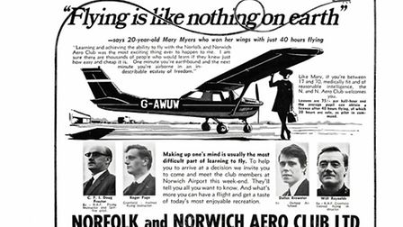 A poster marking the Norfolk and Norwich Aero Club's 40th anniversary