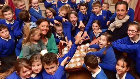 Youngsters from Somerleyton primary school enjoy penny bun day at Somerleyton Hall. PHOTO: Nick But