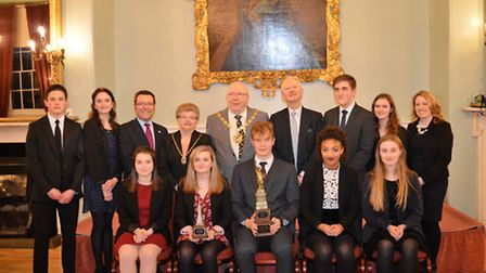 Springwood mock bar students and (From right) Hayley Roberts, Sir Henry Bellingham, West Norfolk May