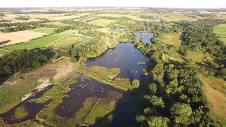 Pensthorpe Natural Park from the air, with early-stage work on creating the new reed beds taking pla