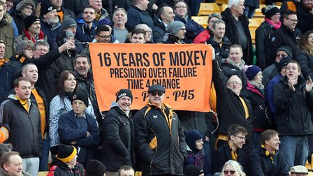 The travelling fans made their views clear about Norwich chief executive Jez Moxey - formerly of Wol