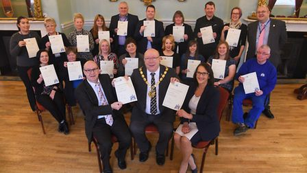 West Norfolk council long service awards. At the front with mayor David Whitby are Steve Dougall and