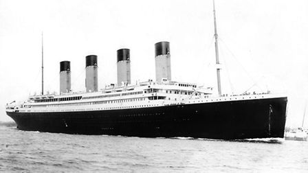 """A photograph c1912 of the """"unsinkable"""" four-funnelled ship the RMS Titanic. Part of the White Star L"""