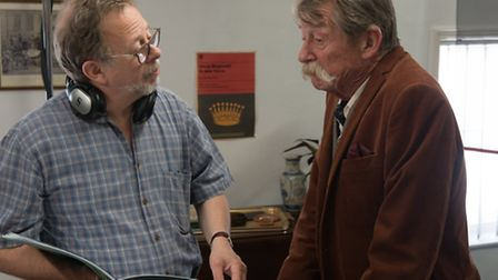 Tony Britten on set with John Hurt during the filming of ChickLit