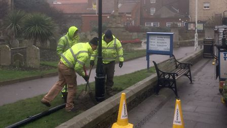 Work under way on Cromer's Church Street lights. Picture: PETER STIBBONS