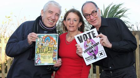 Pat Nearney, Sheilah Olley and Nigel Holmes prepare for this year's panto in Mundesley. Picture: Mau