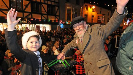 Cromer Christmas lights switch on. Actor John Hurt and Ollie Robinson press the button. PHOTO: ANTO