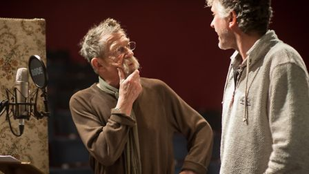 John Hurt recording the Voice of the Mirror with director Simon Thompson at Sheringham Little Theatr