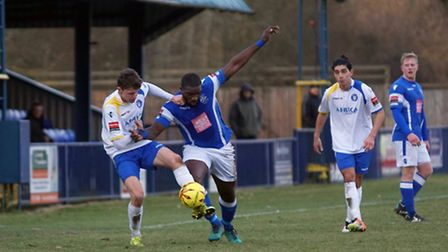 Lowestoft's Harvey Hodd gets stuck in against Tonbridge Angels. Picture: Shirley D Whitlow