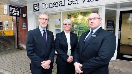 Tony Carter, Humanist Celebrant, Sally Blundell, Funeral Arranger, and Ian Brightwell at the East of