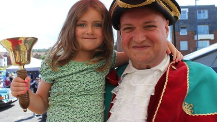 Sheringham's crier Andrew Cunningham Brown with his old bell. Picture: KAREN BETHELL