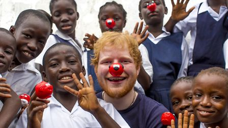 Ed Sheeran supporting Red Nose Day 2017. Photo: Ray Burmiston/Comic Relief