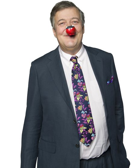 Stephen Fry supporting Red Nose Day 2017. Photo:Ray Burmiston/Comic Relief