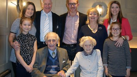 Penny Long with husband Graham and family members at her 100 birthday party. PIcture: CAROLYN COGGS