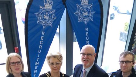 Employment Marketplace event held at Lowestoft College. Suffolk Police with the deputy mayor of Lowe