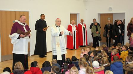 Pictured attached of Bishop Alan Hopes at St Martha�s School to bless the major extension project. P