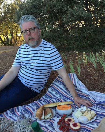Richard Hughes enjoying a birthday picnic in the grounds of the Chateau de Lourmarin, July 2016