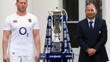 England captain Dylan Hartley and head coach Eddie Jones with the Six Nations trophy. Picture: John