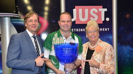 John Potter, Paul Foster MBE and Judy Potter at the Just 2017 World Indoor Bowls Singles Championshi
