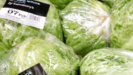 Lettuces on the shelves at Sainsbury's at Castle Boulevard, Nottingham as as lettuce became the lat