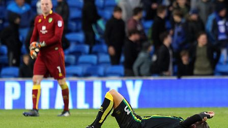 Mitchell Dijks of Norwich is flat out at the end of the Sky Bet Championship match at the Cardiff Ci