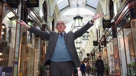 David Bussey, art historian, enjoying the splendour of the Royal Arcade, which he is to give a talk