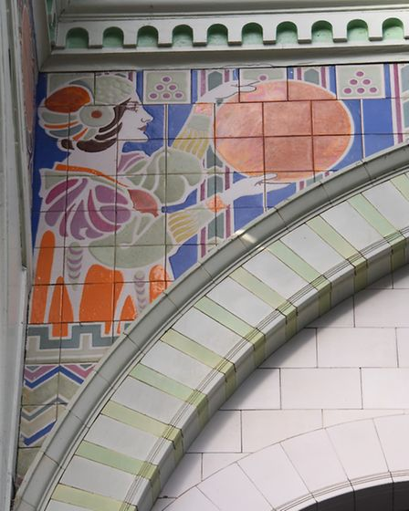 Painted ceramic tiles in parianware of one of two ladies in the Royal Arcade, who could have been ho