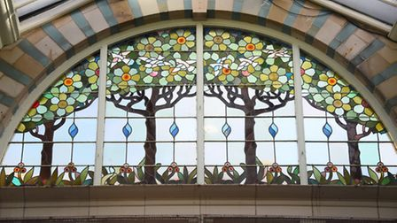 Stained glass window designs in the Royal Arcade. Picture: DENISE BRADLEY