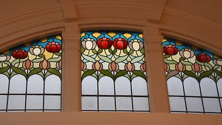 Stained glass window designs in the roof of Jamie's restaurant the Royal Arcade. Picture: DENISE BRA