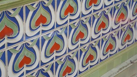 Painted ceramic tiles in parianware in the Royal Arcade. Picture: DENISE BRADLEY