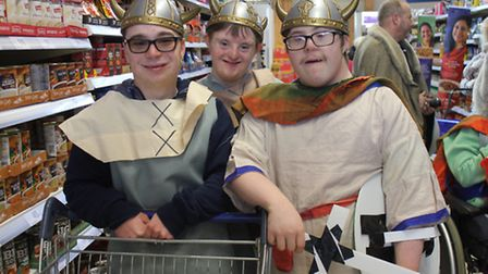 Sheringham Woodfields 'Vikings' Bradley, Thomas and William shopping for Cromer and District Foodban