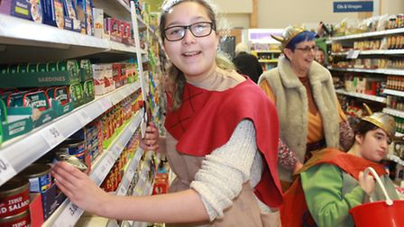Sheringham Woodfields student Eloise, 18, shopping for Cromer and District Foodbank donations. Pict
