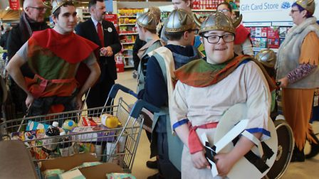 Sheringham Woodfields 'Vikings' queuing at the checkout. Picture: KAREN BETHELL