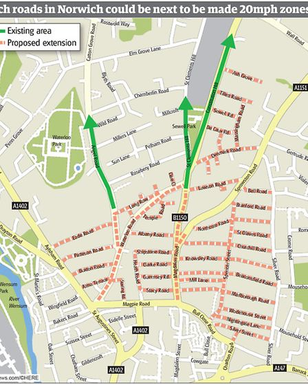 More roads in Norwich could be about to be made into 20mph zones. Graphic: Robert McVicar.