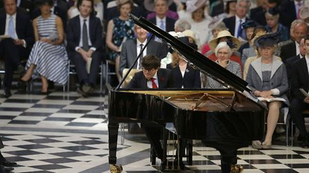Martin James Bartlett plays during a service of thanksgiving to celebrate the 90th birthday of Queen