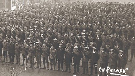 New recruits lined up in Dererham Market Place in 1914,