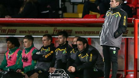 Norwich City U18 coach David Wright during the fifth round of the FA Youth Cup match at the Lamex St