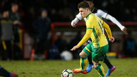 Glenn Middleton of Norwich City U18 breaks during the fifth round of the FA Youth Cup match at the L