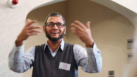 Sirajul Islam welcomes visitors into the Norwich Central Mosque and speaks about the Islam faith dur