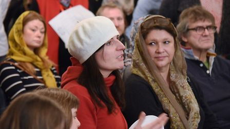 Visitors learn about the Islam faith during the open day at the Norwich Central Mosque. Picture: DEN