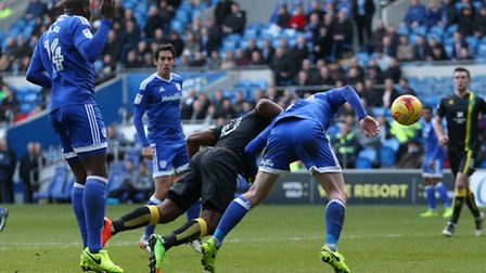 Cameron Jerome heads home what turned out to be the winning goal for Norwich City at Cardiff. Pictu