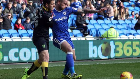 Wes Hoolahan was a key figure in the win at Cardiff City . Picture by Paul Chesterton/Focus Images L