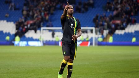 Cameron Jerome celebrates victory with the Norwich City supporters in Cardiff. Picture: Paul Chester
