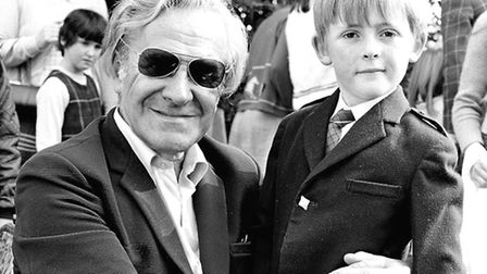 A young fan with actor John Le Mesurier, who played Sgt Wilson of the BBC comedy series Dad's Army